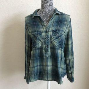 Cloth & Stone Med Green Blue Gauze Popover Shirt